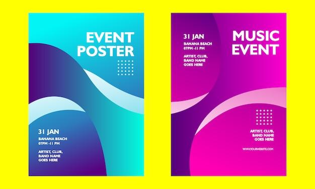 Affiche d'événement de musique de gradient moderne Vecteur Premium