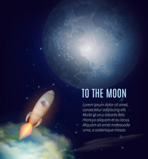 Affiche d'exploration de la lune Vecteur gratuit