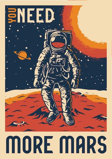 Affiche D'exploration De Mars Vintage Colorée Vecteur Premium