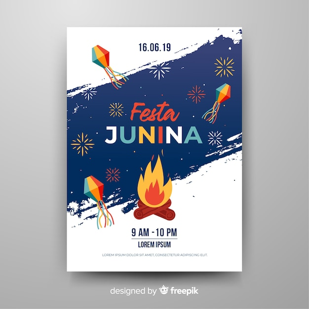 Affiche festa junina Vecteur gratuit