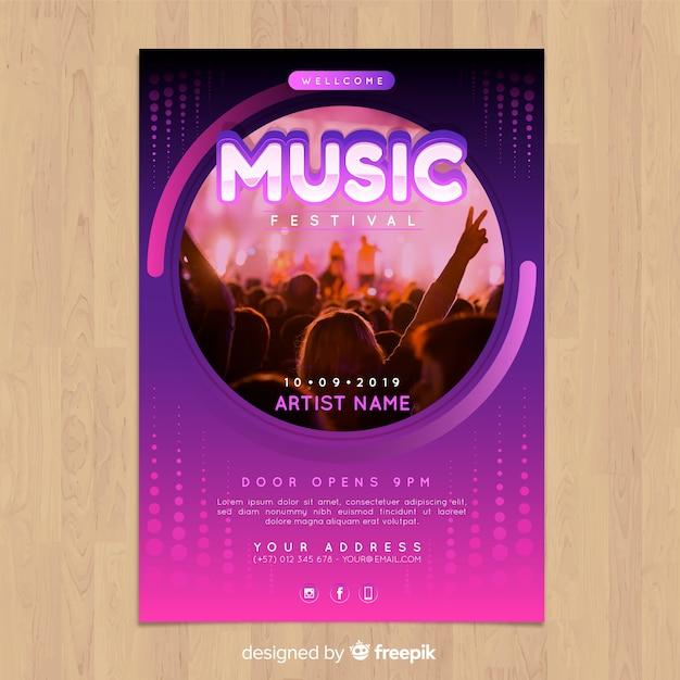 Affiche de festival de musique dégradé coloré avec image Vecteur gratuit