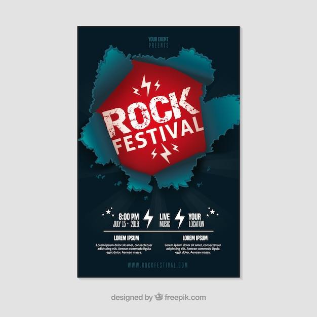 Affiche de festival de rock avec un design plat Vecteur gratuit