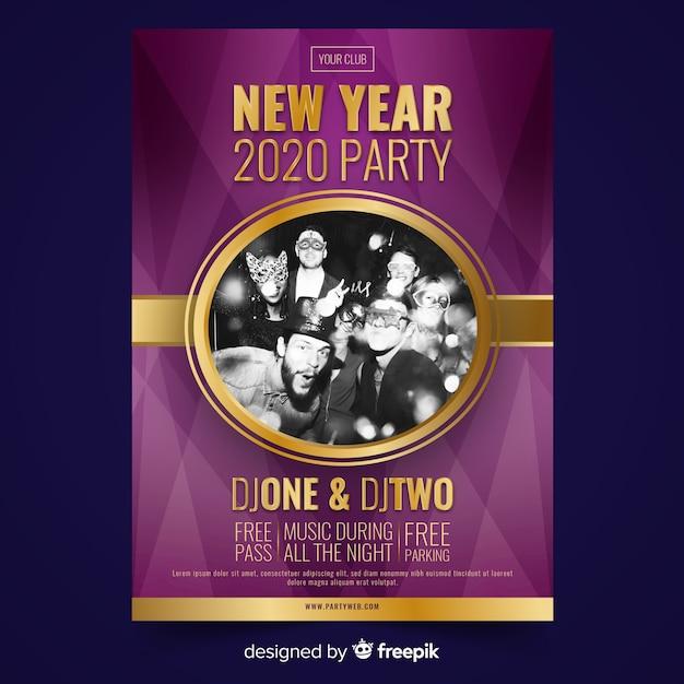Affiche de la fête des amis du nouvel an 2020 Vecteur gratuit