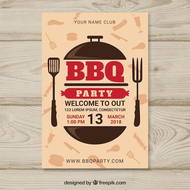 Affiche de fête barbecue au design plat Vecteur gratuit