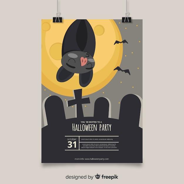 Affiche de fête belle halloween dessiné à la main Vecteur gratuit