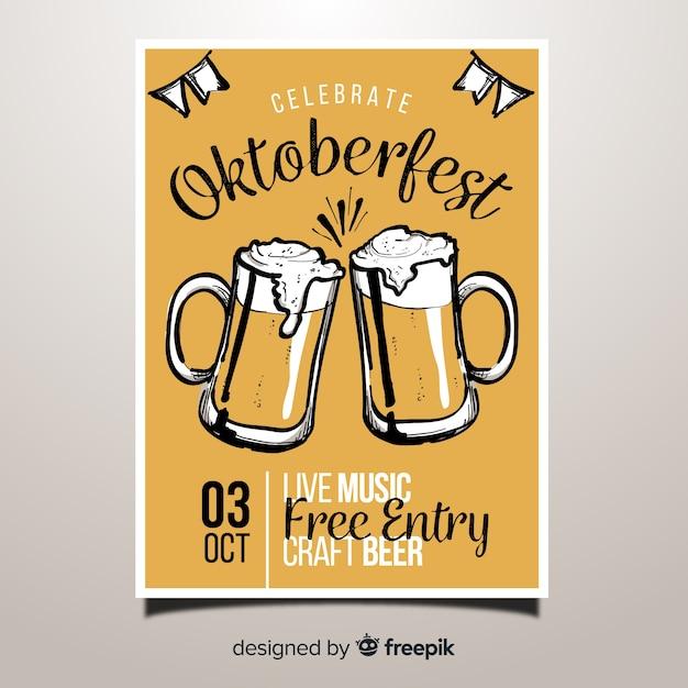 Affiche de fête belle oktoberfest dessinés à la main Vecteur gratuit