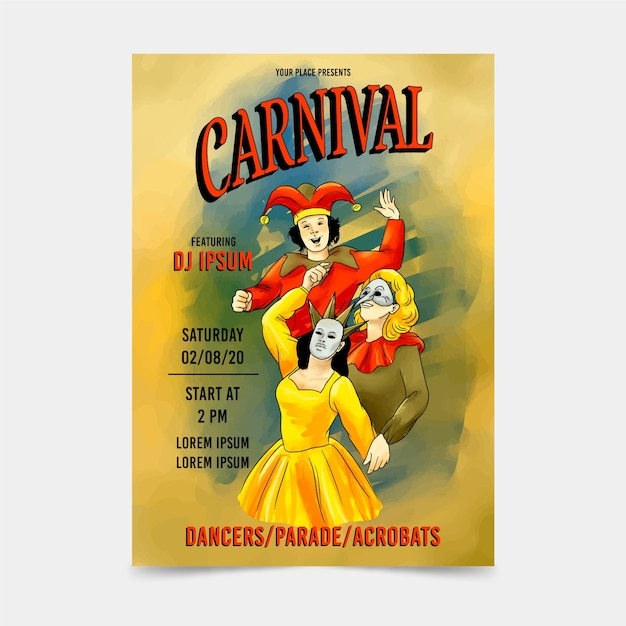 Affiche De Fête De Carnaval Avec Des Masques Vecteur gratuit