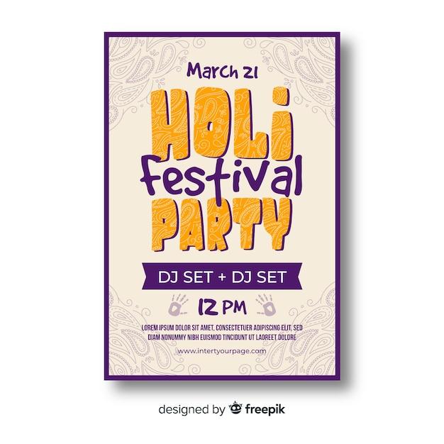 Affiche de la fête du festival de holi Vecteur gratuit