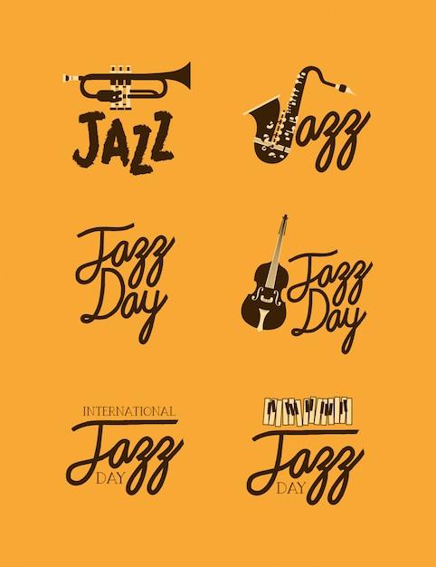 Affiche de la fête du jazz ensemble de modèles Vecteur Premium