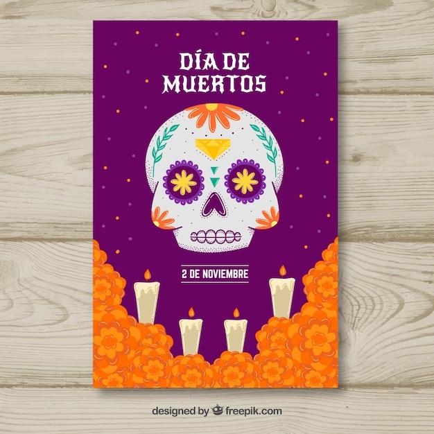 Affiche de la fête du jour des morts Vecteur gratuit