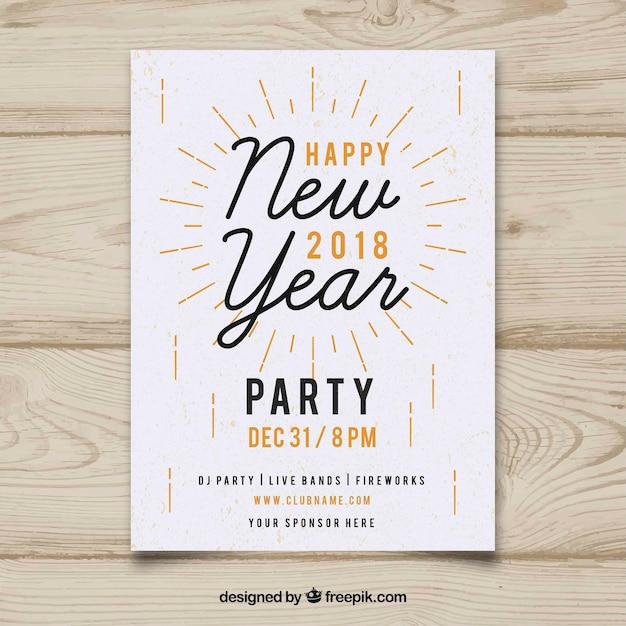 Affiche de fête du nouvel an minimaliste Vecteur gratuit