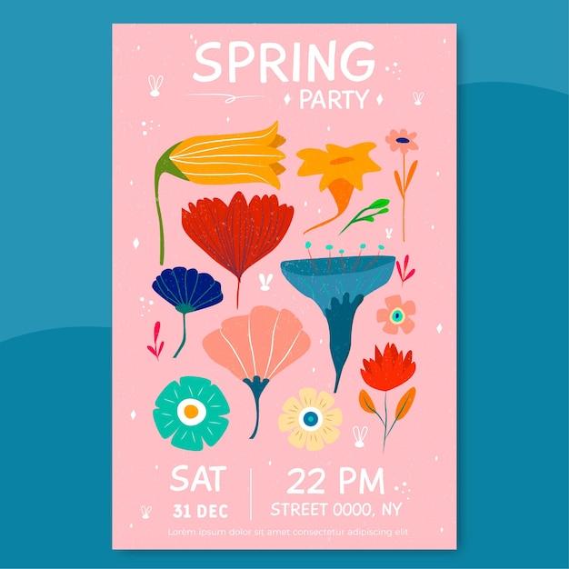 Affiche De La Fête Du Printemps Avec Des Fleurs Isolées Sur Fond Rose Vecteur gratuit