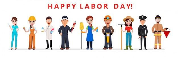 Affiche de la fête du travail. les gens de différentes professions Vecteur Premium