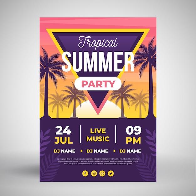 Affiche De Fête D'été Avec Des Arbres Tropicaux Vecteur gratuit