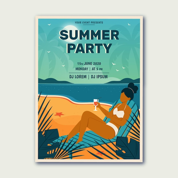 Affiche De Fête D'été Dessiné à La Main Vecteur gratuit
