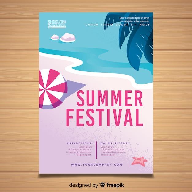 Affiche de fête d'été dessinée à la main Vecteur gratuit