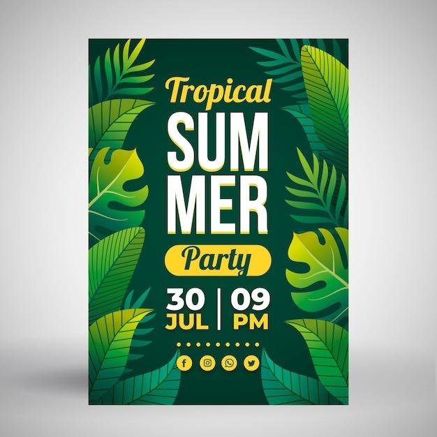 Affiche De Fête D'été Avec Des Feuilles Tropicales Vecteur gratuit