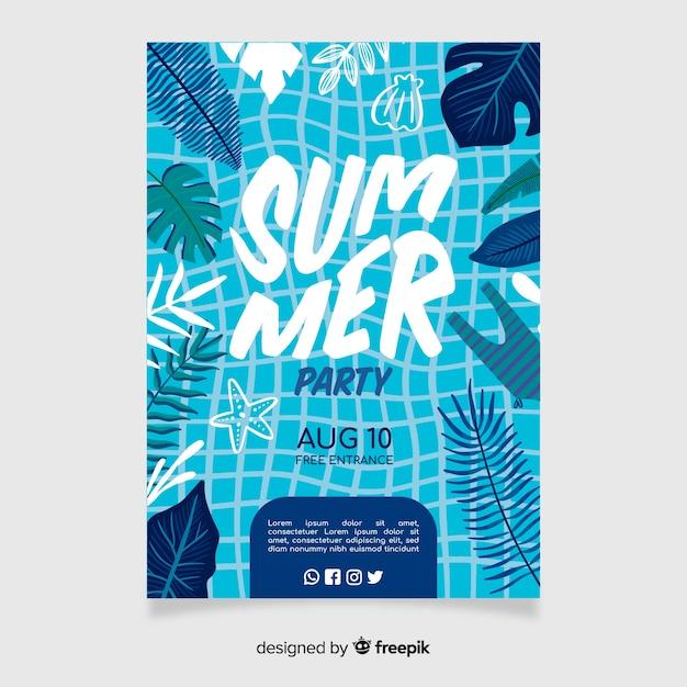 Affiche De Fête De L'été Ou Modèle De Flyer Prêt à Imprimer Vecteur Premium