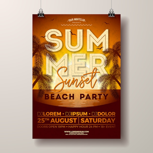 Affiche fête d'été avec des palmiers sur le paysage coucher de soleil Vecteur Premium