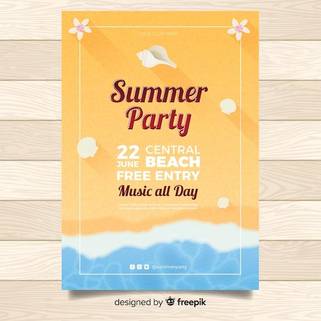 Affiche de la fête d'été réaliste Vecteur gratuit