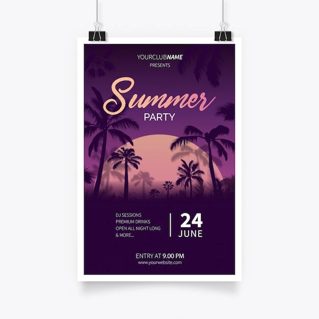 Affiche de la fête d'été tropicale Vecteur gratuit