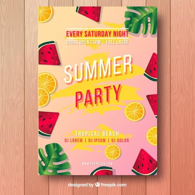 Affiche de fête d'été Vecteur gratuit