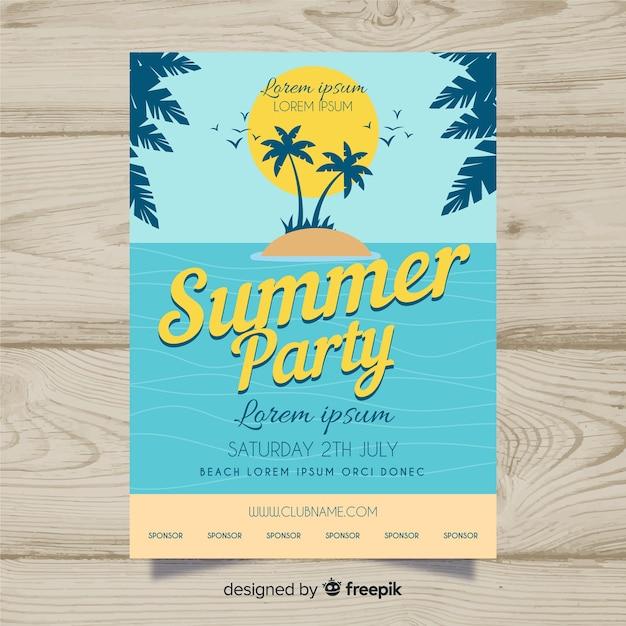 Affiche de la fête de l'été Vecteur gratuit