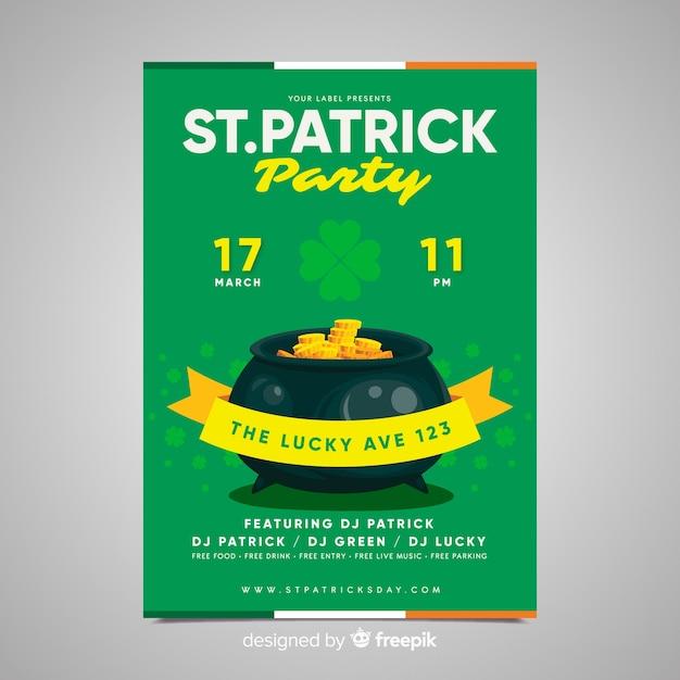 Affiche de la fête de la fête de la st patrick Vecteur gratuit