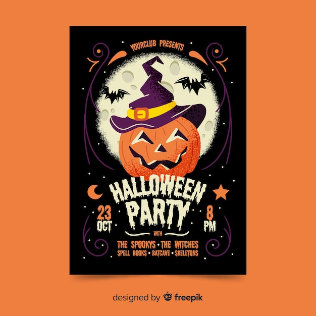 Affiche de la fête de halloween citrouille sculptée smiley Vecteur Premium