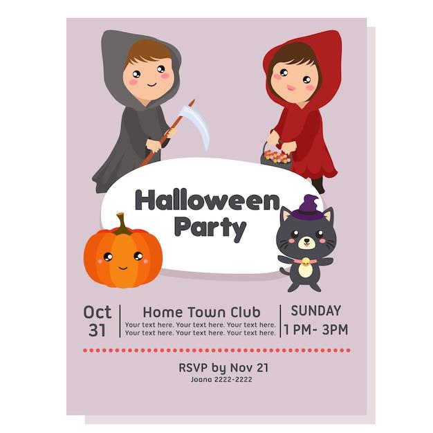 Affiche de fête d'halloween avec costume de capuche Vecteur Premium