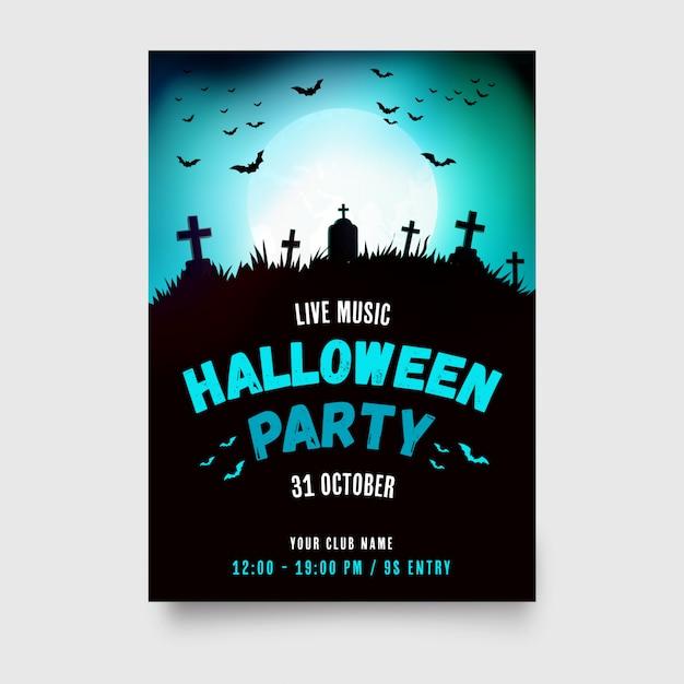 Affiche fête halloween avec un design moderne Vecteur gratuit
