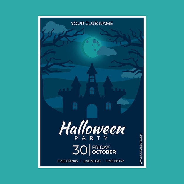Affiche De Fête D'halloween Design Plat Avec Maison Effrayante Illustrée Vecteur gratuit