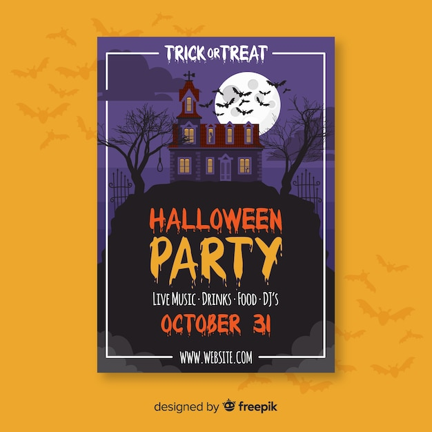 Affiche de fête d'halloween en design plat Vecteur gratuit