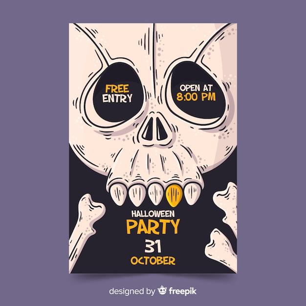 Affiche de fête d'halloween dessinée à la main Vecteur gratuit
