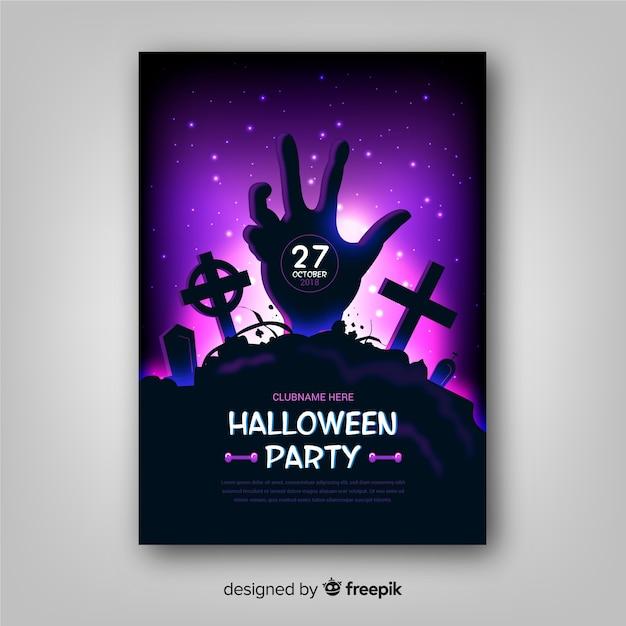Affiche de fête halloween effrayant avec un design réaliste Vecteur gratuit