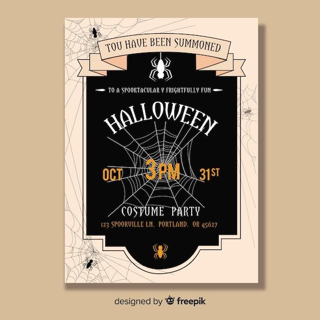 Affiche de fête halloween effrayant dessiné à la main Vecteur gratuit
