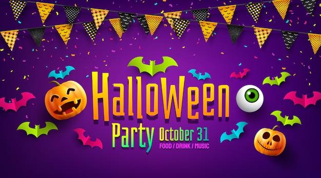 Affiche fête halloween ou flyer avec des guirlandes de drapeaux, des chauves-souris en papier et des confettis. Vecteur Premium