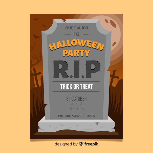 Affiche de fête de halloween moderne avec un design plat Vecteur gratuit