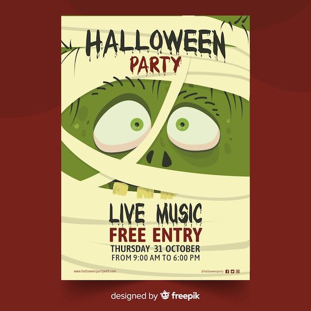 Affiche de fête halloween momie monstre Vecteur gratuit