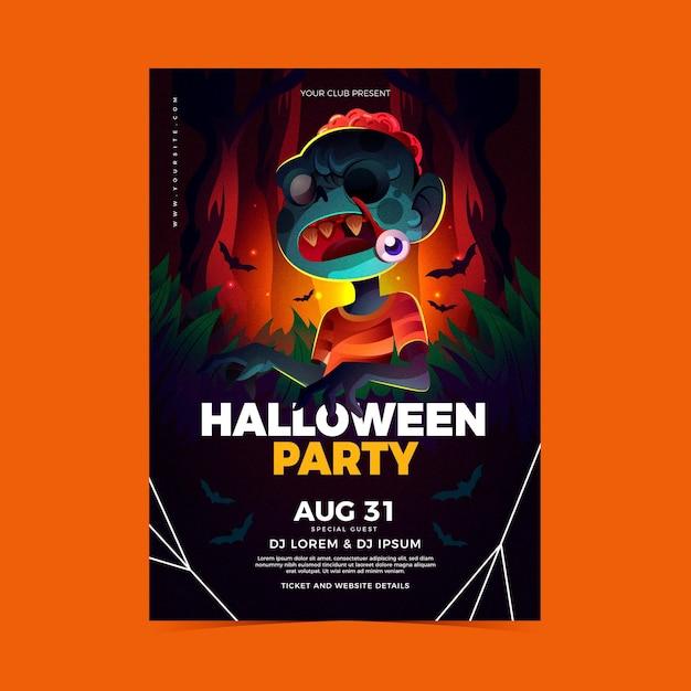 Affiche De Fête D'halloween Réaliste Vecteur gratuit