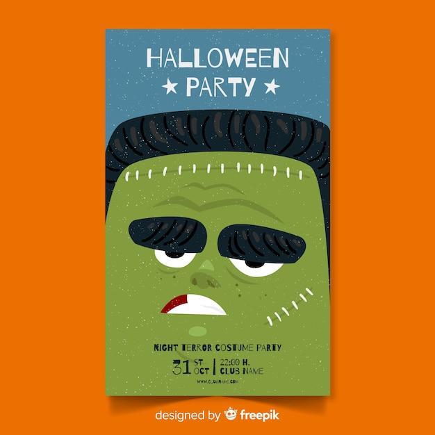 Affiche de fête d'halloween avec zombie dessiné à la main Vecteur gratuit