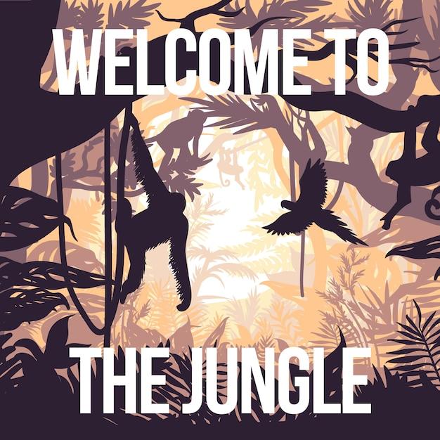 Affiche De La Fête De La Jungle Légère Vecteur gratuit