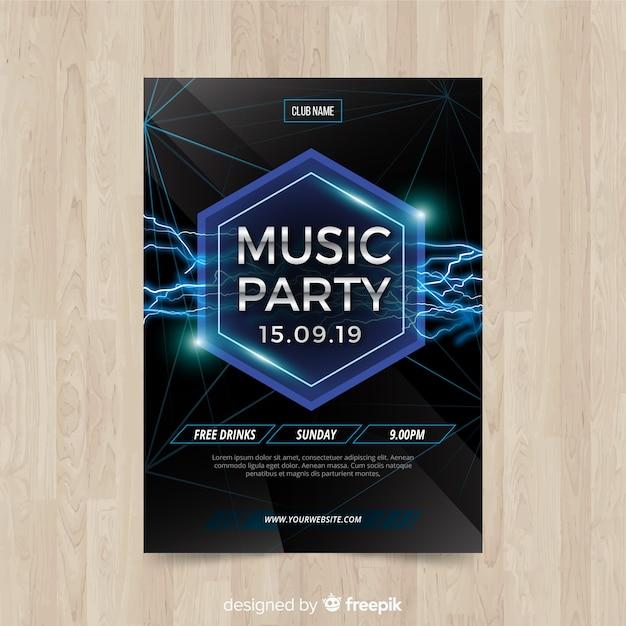 Affiche de la fête de la musique de formes géométriques Vecteur gratuit
