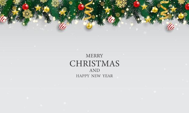 Affiche De Fête De Noël Et Bonne Année Fond. Vecteur Premium
