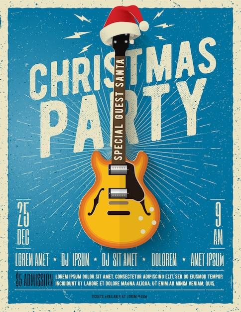 Affiche De Fête De Noël Ou Modèle De Flyer Avec Guitare électrique Avec Bonnet Rouge Sur Fond Bleu. Vecteur Premium