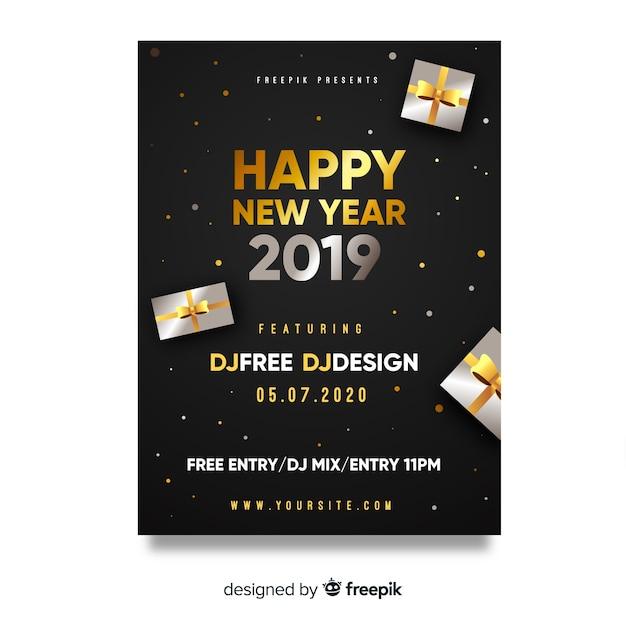 Affiche De Fête De Nouvel An Cadeaux Argent Télécharger