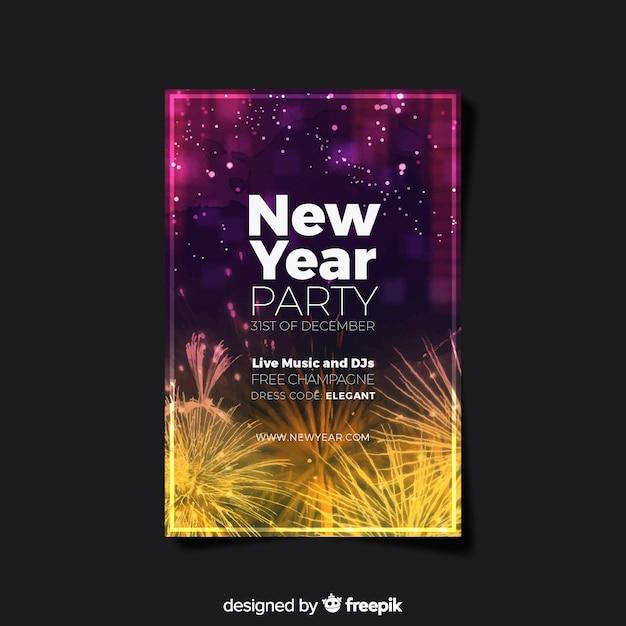 Affiche de fête de nouvel an élégant avec un design réaliste Vecteur gratuit