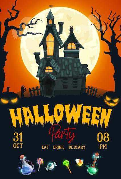 Affiche De Fête De Nuit D'horreur Halloween Avec Maison Hantée, Citrouilles Effrayantes Et Lune. Vecteur Premium