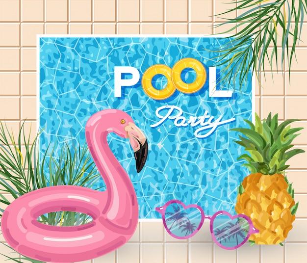 Affiche de la fête de la piscine d'été avec flamant rose Vecteur Premium