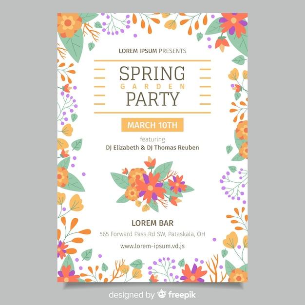 Affiche de la fête printanière florale Vecteur gratuit